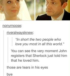 """""""I love that John tells Mary not to let himself hug Sherlock and she says absolutely not! She wants them to be the best friends they are. No matter how much they bicker, argue, and have issues with one another they need each other. They are too invested in each others lives to walk away now. Sherlock has admitted he cares for someone, and John realizes how lucky he is that Sherlock cares for him"""" I love how perfectly Mary understands and encourages Sherlock and John's friendship…"""