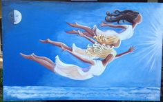 Beautiful SURREALISTIC and WHIMSICAL Three Graces painting Greek mythological flying above clouds toward sun ~ large rich blues Two Whimsies on Etsy, $600.00