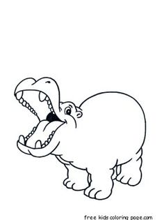 Printable Animal Little Hippo Coloring Pages