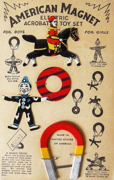 magnetic circus tin toys set - Cracker Jack jouet vintage - cirque - acrobates