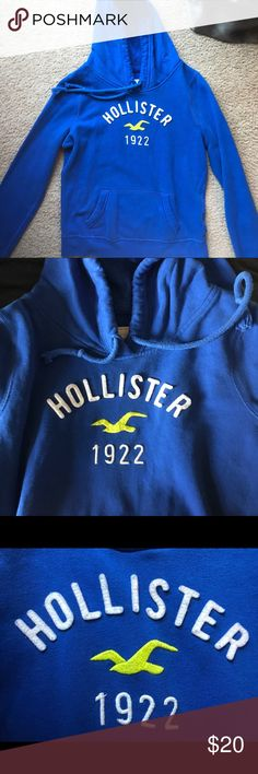 HOLLISTER Medium Gently Used Royal Blue Hoodie This royal blue hoodie is ultra soft due to it being 60% cotton and 40% polyester. Looks great with jeans or you could even put it on for a day at the beach. It has been gently used and besides the lettering having a slight fray, it is in prime condition. Extremely high quality and just needs a new loving home! Hollister Jackets & Coats