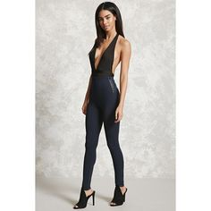 Forever21 Zippered Faux Leather-Trimmed Leggings (£6.53) ❤ liked on Polyvore featuring pants, leggings, navy, stretch waist pants, stretch leggings, navy pants, holiday leggings and elastic waist pants