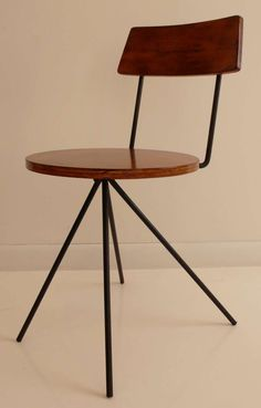 Norman Cherner; #100 Wrought Iron and Laminated Birch Chair for Konwiser Collection, 1951.