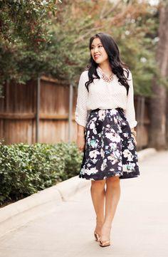 http://cuteandlittle.com   petite fashion blog   polka dot shirt, floral pleated skirt, kate spade rose gold pumps   dressy feminine spring outfit