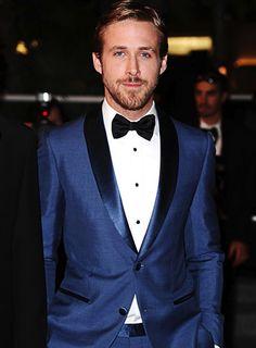 tux ryan gosling, blue tux groom, groom style, navy tuxedos, wedding tuxes, wedding ideas, bow ties, groom tuxedo blue, mens wedding suits blue