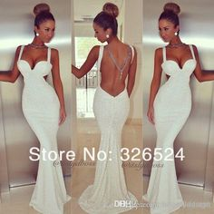 Discount 2014 White Prom Dresses Spaghetti Straps Mermaid Sequins Beads Backless Floor Length Evening Gowns Formals Dress Celebrity Gown