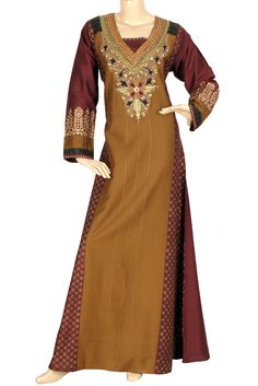 "aljalabiya.com: ""Brown Sugar"" Two color pure cotton kaftan with handwork and machine embroidery (N-10673)  $134.00"