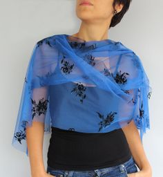 Cobalt Blue Tulle Scarf Shoulder Wrap Shawl for by mammamiaeme, $18.00