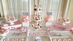 Pink and gray elephant baby shower birthday party dessert table! See more party ideas at CatchMyParty.com!