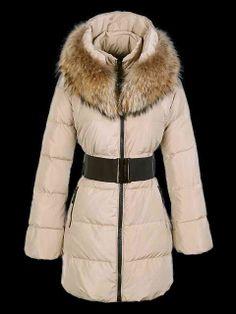 Women's Moncler Long Coats Khaki With Ultra Fur Collar [Moncler#00376] - $328.00 : Moncler Jackets