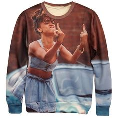 Womens Funny Rihanna Middle Finger 3D Print Pullover Sweatshirt Brown ($21) ❤ liked on Polyvore featuring tops, hoodies, sweatshirts, brown, print top, pullover sweatshirt, patterned tops, brown tops and brown sweatshirt