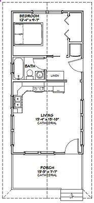 16x32 Tiny House -- 511 sq ft -- PDF Floor Plan -- Model 3A #shedbuildingplans