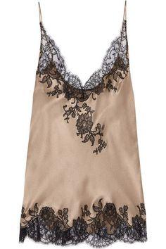 Carine Gilson Lace Trimmed Silk Satin Camisole