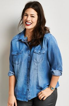 Sejour Chambray Shirt (Plus Size) available at #Nordstrom