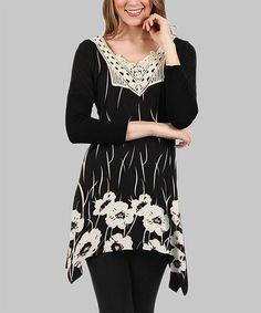Another great find on #zulily! Black & Cream Floral Lace-Yoke Tunic - Plus #zulilyfinds