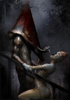 A typical day in Silent Hill, Anastasia Beletskaya Arte Horror, Horror Art, Silent Hill Nurse Costume, Silent Hill Art, Creepypasta Wallpaper, Pyramid Head, Creepy Horror, Zombie Art, Creepy Pictures