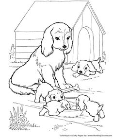 Mother dog watches her puppies - Dog Coloring page