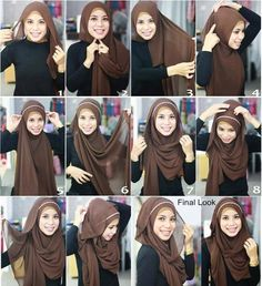 Pretty hijab style - this will be perfect for my oversized Chiffon hijabs