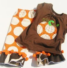 I need to learn how to sew!!! PUMPKIN OUTFIT  Applique Shirt and Ruffle by AngelBrookCreations, $49.00