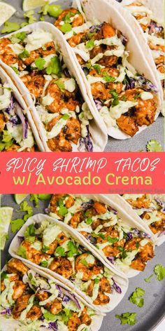 These Spicy Shrimp Tacos are marinated in delicious spices and sit on top of a h. These Spicy Shrimp Tacos are marinated in delicious spices and sit on top of a homemade slaw with an avocado crema that makes these so addicting! Spicy Shrimp Tacos, Shrimp Taco Recipes, Shrimp Dinner Recipes, Spicy Food Recipes, Healthy Seafood Recipes, Shrimp Taco Sauce, Shrimp Fajitas, Marinated Shrimp, Lunch Recipes