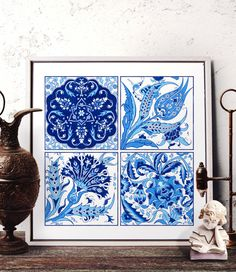 Vintage Blue Carnation Watercolor Art, Traditional Turkish Blue Tulip Home Decor, Ottoman Floral Motif Wall Art Prints and Original Painting