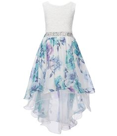 Xtraordinary Big Girls Watercolor Floral Print High-Low Dress From Xtraordinary, this dress features:round necklinesleevelessglitter lace bodiceembellishment at waistwatercolor floral print high-low skirtzipper back closurepolyesterhand washimported Pretty Prom Dresses, Dresses To Wear To A Wedding, Elegant Dresses, Pretty Outfits, Cute Dresses, Beautiful Dresses, Casual Dresses, Short Dresses, Homecoming Dresses