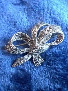 Vintage brooch, Marcasite and Silver Brooch, Antique Silver, Bow Brooch, Art Nouveau Brooch, Gifts for Her, Costume Jewelry by TillyofBloomsbury on Etsy