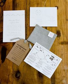 Fabric pocket for invitations. Would go great shipped in a kraft box. Love the grey, white & Kraft paper colors.