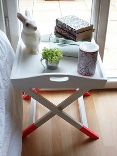 DIY   Repurposed Wooden TV Trays Into Cute Bedside Tables.  Www.sustainablyfrugal.com | For The Home | Pinterest | Wooden Tv Trays, Tv  Trays And Repurposed