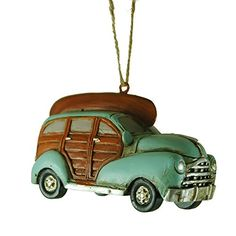 Mint 40's Woodie Car with Canoe Hanging Christmas Tree Ornament. #Christmas #NewYear #Ornament #Decor #giftidea #Gift #gosstudio .★ We recommend Gift Shop: http://www.zazzle.com/vintagestylestudio ★