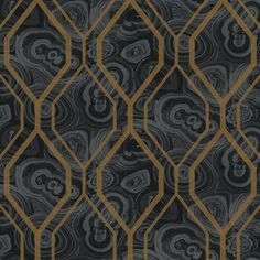 Malachite Trellis Wallpaper in Grey and Black design by York Wallcoverings