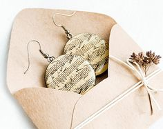 Round musical earrings sheet music jewelry notes earrings by Lepun, $17.00