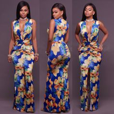 09041db7cc4 Sleeveless Deep V Silt Front Peplum Printed Women Long Dress QZ7114