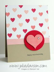 Stampin' Up! Stacked with Love Valentine's Day Card #occasions #stampinup www.juliedavison.com Love Valentines, Valentine Day Cards, Holiday Cards, Homemade Valentines Day Cards, Saint Valentin, Cute Cards, Diy Cards, Scrapbook Cards, Scrapbooking