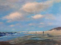 Strand op het eiland Vlieland acryl on canvas 40x50 cm Door Herman Dasselaar.
