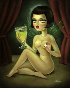 """Absinthe from """"Hell is a Kitchen"""" collection. Deliciously drawn by Miss Noir Nouar Absinthe Fairy, Pinup, Dark Wings, Green Fairy, Weird Art, Bizarre Art, Pop Surrealism, Surreal Art, Drawing"""