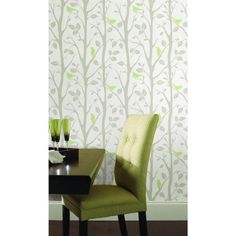 NuWallpaper 30.75 sq. ft. Grey and Green Sitting in a Tree Peel and Stick Wallpaper-NU1655 - The Home Depot