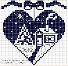 Světnička u Tiny: Předloha / Pattern Cross Stitch Christmas Ornaments, Xmas Cross Stitch, Cross Stitch Heart, Christmas Embroidery, Christmas Knitting, Christmas Cross, Cross Stitching, Cross Stitch Embroidery, Cross Stitch Patterns