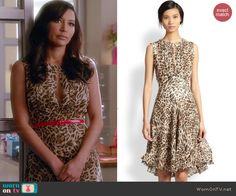Santana's leopard print dress with front keyhole cutout on Glee. Outfit Details: http://wornontv.net/45925/ #Glee