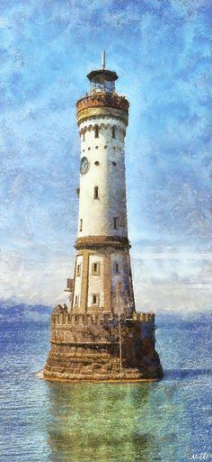 Lindau Lighthouse In Germany by Nikki Marie Smith - Lindau Lighthouse In Germany Mixed Media - Lindau Lighthouse In Germany Fine Art Prints and Posters for Sale