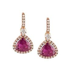 Earrings set in pink gold, diamonds and red tourmalines