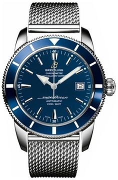 Breitling Aeromarine Superocean Heritage 42 Mens Watch A1732116/C832- The polished steel case and Ocean Classic bracelet are offset by the Azure blue dial and bezel. A one of a kind watch to set your style apart!