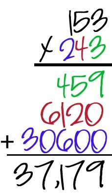 teaching three digit multiplication with colors