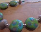 Spotty Dotty Springtime -  Handmade Lampwork Glass Bead Colourful Purple Green Blue Silver Artisan Necklace Handmade Jewellery, Blue And Silver, Glass Beads, Etsy Seller, Artisan, Beaded Bracelets, Purple, Green, Color