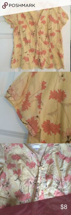 Anne Taylor Loft 12 Yellow Floral Button Up Shirt Very nice size 12 loft shirt. Yellow with orange tone flowers . 24 inches from back of neck to bottom.  Smoke and dog free home. 100% cotton. Ann Taylor Tops Blouses