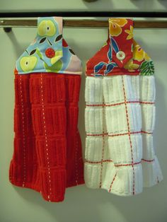 """Download pattern here: Hanging dishtowel pattern2. Make sure your printer doesn't """"scale"""" the pages (i.e., """"shrink to fit"""") or the pattern will come out a bit on the small side. To make two hanging dishtowels, I used one purchased 24"""" x 15"""" dishtowel, 2 pieces of 7"""" x 12"""" fabric, & 2 buttons. Pre-shrink fabric."""