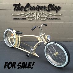 """Downtown Campbell: Ruff Cycles Smyinz V4.0 up for sale. This brand new build rolls in polished 24x4's front and rear laced up with 12 gauge spokes wheels wrapped in 24x3 #ruffcycles white walls. Both hubs were powder coated same color as the frame which is #prismaticpowders banana cream. Nexus 3 speed in rear with #project346 shifter to change gears during wheelies custom 4"""" rear fender was also added to the frame. Up front the bike runs a 4"""" wide triple tree front end with our signature LED…"""