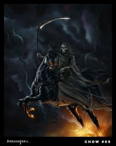 Grim reaper and fire horse