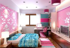 omg *_* colorful teenager bedroom