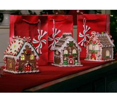 Set of 3 Mini Lit Gingerbread Houses with Gift Bags by Valerie — QVC.com